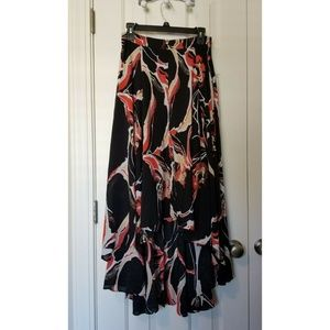NEW Free People High Low Abstract Maxi Skirt BLACK
